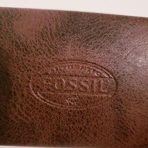"🦋3/$25💐""FOSSIL"" vintage brown eyeglass case"